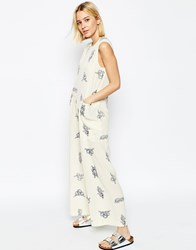 Asos White Wide Leg Jumpsuit In Rope Print Multi