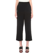 Whistles Fluid Cropped High Rise Crepe Trousers Black