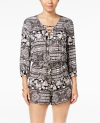 American Rag Lace Up Floral Print Romper Only At Macy's Black Combo