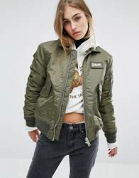 Schott Coach Bomber Jacket With Woven Badge On Front Army Khaki Green