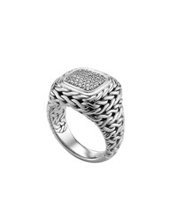 Pave Diamond Square Ring John Hardy Silver