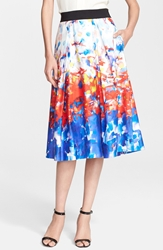 Milly 'Katie' Watercolor Print Pleated Midi Skirt Red Multi