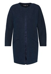 Hallhuber Coat With Round Neckline Navy