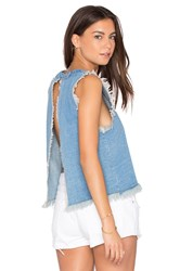 J.O.A. Chambray Frayed Tank Blue