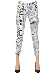 Balmain Printed Stretch Cotton Denim Jeans