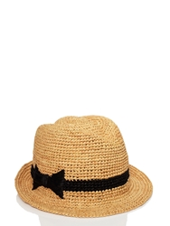 Kate Spade Packable Straw Fedora Natural