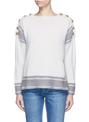Alexander Mcqueen Logo Button Oversized Cashmere Sweater White