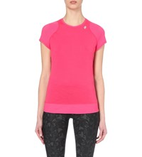 Sweaty Betty Momentum Temperature Regulating Wool Blend Top Manga Rosa Red