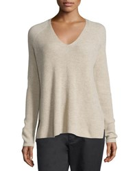 Vince Ribbed Wool Cashmere Blend V Neck Sweater Light Heather Marzipan Lt Hthr Marzipan