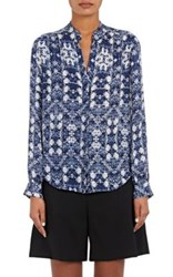 L'agence Women's Bianca Abstract Floral Silk Blouse Blue