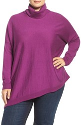 Eileen Fisher Plus Size Women's Merino Jersey Asymmetrical Turtleneck Petunia