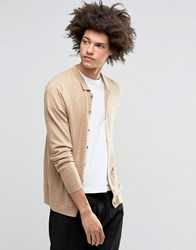 Asos Polo Neck Cardigan In Merino Wool Mix Sable Beige