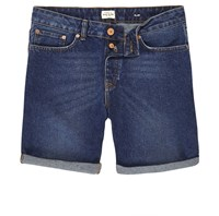River Island Mens Dark Blue Wash Slim Fit Denim Shorts