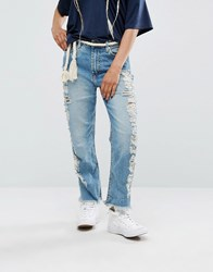 Pull And Bear Pullandbear Extreme Distressed Side Jean With Raw Hem Blue