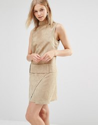 Shades Of Grey Faux Suede Drop Waist Mini Dress Camel Suede Tan