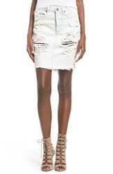 Women's One Teaspoon '2020' Distressed Denim Skirt Le Creme