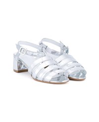 Maryam Nassir Zadeh Palma Metallic Leather Sandals Silver Black
