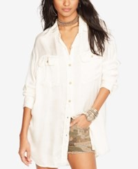 Denim And Supply Ralph Lauren Satin Military Shirt Antique Cream