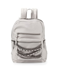 Ash Domino Chain Small Leather Backpack Stone Gray Silver