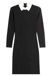 Paule Ka Dress With Contrast Collar And Cuffs Black