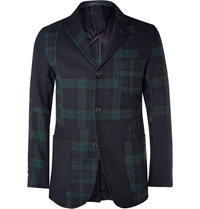 Beams Plus Patchwork Harris Tweed Blazer Blue