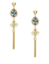 Gerard Yosca Cabochon Bee Tassel Drop Earrings Blue