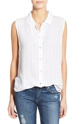 Women's Velvet By Graham And Spencer Windowpane Sleeveless Button Down Shirt