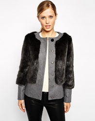 Ted Baker Coat In Faux Fur Silvergrey