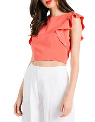 Kendall Kylie Flutter Sleeve Crop Top Rose