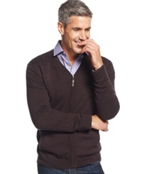 Tasso Elba Big And Tall Full Zip Cardigan Only At Macy's Brown Twist