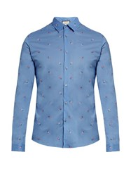 Gucci Flower Embroidered Cotton Shirt Blue Multi