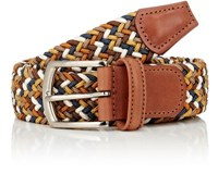 Barneys New York Men's Woven Elastic Belt Tan