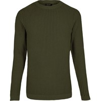 River Island Mens Dark Green Ribbed Slim Fit Jumper