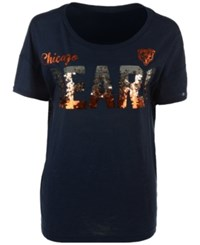G3 Sports Women's Chicago Bears In The Game Sequin T Shirt Navy