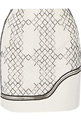 Jonathan Simkhai Faille Paneled Embroidered Tulle Mini Skirt White
