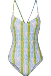 Tart Collections Bronte Ruched Printed Swimsuit Sky Blue
