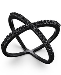 Inc International Concepts Jet Tone Pave X Ring Only At Macy's Black