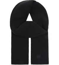The Kooples Classic Embroidered Scarf Black Navy