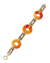 Lc Estate Jewelry Collection Estate Art Deco 14K Orange Jade And Enamel Link Bracelet Women's