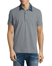 Diesel Denim Collar Short Sleeve Polo Shirt Felt Gray