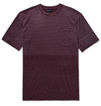 Lanvin Degrade Striped Cotton Jersey T Shirt Burgundy