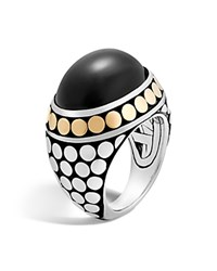 John Hardy 18K Yellow Gold And Sterling Silver Dot Dome Ring With Black Onyx Black Silver