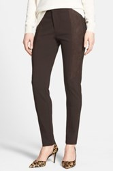 Nydj Ponte Knit And Faux Suede Skinny Pants Brown