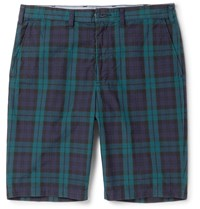 Beams Plus Slim Fit Checked Cotton Shorts Blue