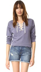 Scotch And Soda Maison Scotch Lace Up Sweat Shirt Coastal Blue