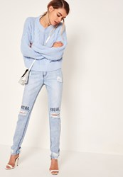 Missguided Blue High Rise Graffiti Busted Knee Jeans