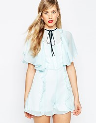 Asos Pussy Bow Ruffle Playsuit Light Blue