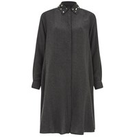 Mcq By Alexander Mcqueen Mcq Alexander Mcqueen Women's Long Sleeve Volume Shirt Dress Charcoal Grey
