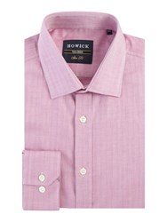 Howick Men's Tailored Cavington Herringbone Shirt Pink