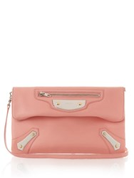 Balenciaga Metal Plate Envelope Leather Clutch Light Pink